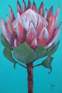 Protea Protea Art, Protea Flower, Watercolor Bookmarks, Watercolor Flowers, King Art, Pallet Art, Chalk Pastels, Diy Canvas Art, Painting Inspiration