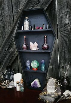Crystal shelf, coffin shelf, coffin display, crystal display, gothic decor, gothic display shelf, home decor, goth, wiccan, witch, coffin by ArchaneEnchantments on Etsy https://www.etsy.com/listing/496238004/crystal-shelf-coffin-shelf-coffin