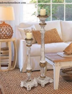 Distressed Floor Candle Holders Set Wood Tall Standing Rustic ...