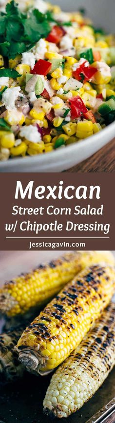 Mexican Street Corn Salad with Chipotle Dressing - This recipe is a fiesta in a bowl! A healthy salad packed with fresh vegetables and creamy chipotle yogurt dressing. via /foodiegavin/ Corn Salad Recipes, Corn Salads, Salad Dressing Recipes, Healthy Salads, Healthy Eating, Healthy Recipes, Healthy Sides, Vegetarian Recipes, Clean Eating