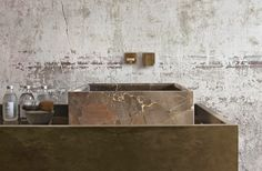 concrete, brass and marble mix.
