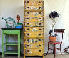 Homemade Upcycled Dresser / Chest of Drawers: Tall, Mustard Yellow, Rustic Vintage Wooden & Metal Cabinet -- Distressed Chippy Paint Patina by MerlesVintage on Etsy https://www.etsy.com/listing/271248862/homemade-upcycled-dresser-chest-of