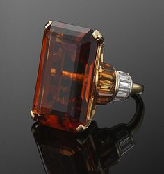 Citrine and Diamond Retro Cocktail Ring - Fred Leighton
