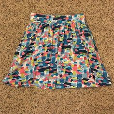 """Forever21 mini skirt Blue graphic mini skirt from Forever21. Perfect colors for spring. Size medium, and it has pockets! Measures 17"""" waist to hem (I'm 5'5"""") Forever 21 Skirts Mini"""