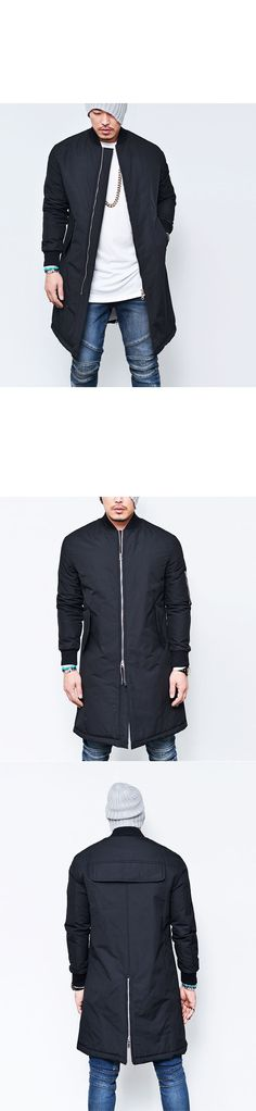 Outerwear :: Jackets :: 4oz Fill Cargo Pocket Long Flight-Jacket 114 - Mens Fashion Clothing For An Attractive Guy Look