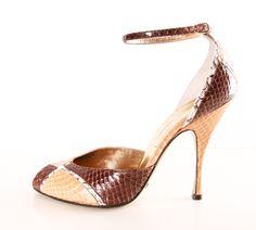 Dolce & Gabbana Snakeskin Patched Peep-toe Heels