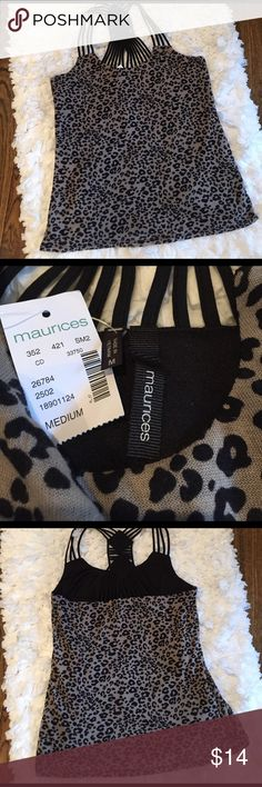 NWT leopard print tank w/pretty strap detail sz M Sassy top from Maurice's sz M.  Leopard print w/very pretty straps.  Great under a jacket then by itself for happy hour! Maurices Tops Tank Tops