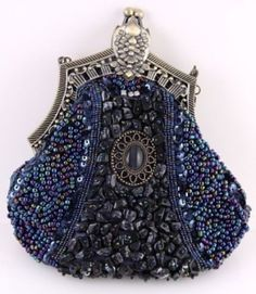 Midnight blue bejeweled evening bag