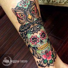 Sugar skull owl piece