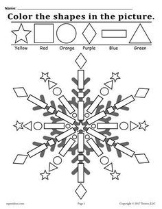 Snowflake Shapes Worksheet & Coloring Page! - FREE snowflake shapes coloring page. Great for toddler and preschool color recognition, shape recog - Pattern Worksheets For Kindergarten, Shapes Worksheets, Kindergarten Worksheets, Free Printable Worksheets, Printable Coloring, Preschool Colors, Preschool Crafts, Winter Theme For Preschool, Preschool Supplies
