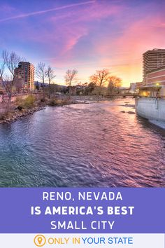 If you're looking for a great place to live, work, or especially travel to, consider Reno, Nevada. It was just chosen as the best small city in the U.S.! It offers casinos, art, culture, and plenty more. Beautiful Places To Travel, Great Places, Places To Visit, Reno Nevada, Nevada Usa, Usa Travel, Travel Tips, Truckee River, Best Bucket List
