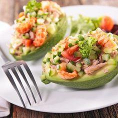 Salade de crevettes, avocat et pamplemousse, sauce cocktail