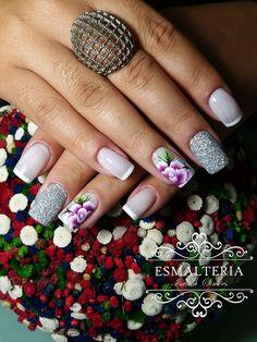 42 Fotos de Unhas com Flores Maybelline, Hair And Nails, Nail Art Designs, Iris, Manicure, Hair Beauty, Stylish Nails, Perfect Nails, Pretty Nails