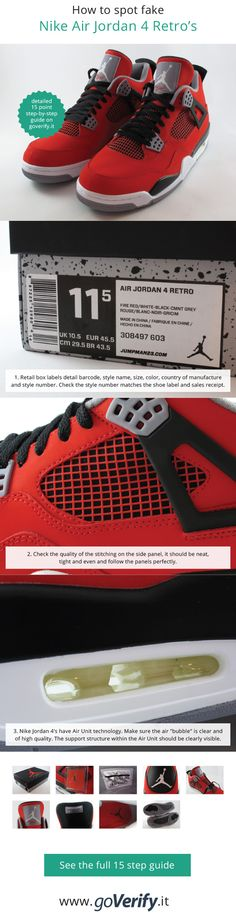the best attitude 6bf9e f7e7f Learn how to spot fake Nike Air Jordan 4 Retro s with this detailed 15  point step-by-step guide by goVerify.