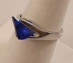 Ladies Laser Cut Russian Formula Sapphire Silver Ring Size 8 Free Gift Box