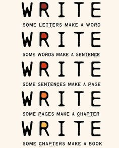 Write Write Write Art Print To Motivate Your Writing For Novelists Writers Authors Nanowrimo Participants. $18.00, via Etsy.  - Decor Ideas