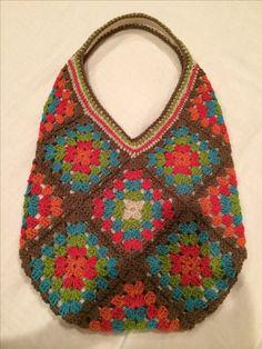 Granny square hobo bag purse