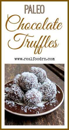 Paleo Chocolate Truffles. Gluten free and dairy free. A healthy version of those deliciously sweet truffles that everyone loves. They even freeze well so you can keep a stash hidden!  realfoodrn.com