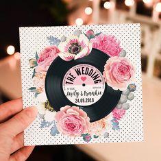 wedding invitations floral Wedding/ Party Invitations Floral Vinyl Record Design x 40 Music Wedding Invitations, Unique Wedding Invitations, Wedding Stationery, Party Invitations, Invitation Templates, Wedding Pins, Wedding Cards, Wedding Venues, Wedding Locations