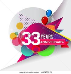 33 years Anniversary logo, Colorful geometric background vector design template elements for your birthday celebration.