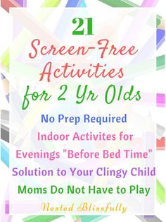 21 Screen-Free Activities that are great indoor activities, as well as educational activities for preschoolers. No prep indoor activities for toddler, to help you give them a screen free childhood. Great Alternative t screen time. Educational Activities For Preschoolers, Indoor Activities For Toddlers, Toddler Learning Activities, Parenting Toddlers, Infant Activities, Kids And Parenting, Parenting Quotes, Parenting Styles, Parenting Classes