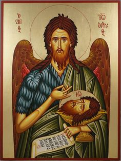 High quality hand-painted Orthodox icon of St John the Baptist (Large). BlessedMart offers Religious icons in old Byzantine, Greek, Russian and Catholic style. Religious Images, Religious Icons, Religious Art, Tarot, Greek Icons, Roman Church, Paint Icon, Pagan Gods, Russian Icons