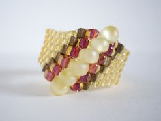 Peyote ring Woven ring Seed bead ring Beaded ring by MisakoBeads, £7.00