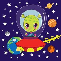 Cute Alien flying on his fast space ship through our solar system Stock Photo