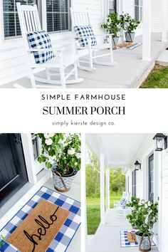 Simple Farmhouse Summer Porch -- Vintage Olive Buckets, Blue Gingham Pillows, Hello Outdoor Mat #farmhousestyle #farmhouse #whitefarmhouse #farmhouseporch #summerporch #farmhousesummer #potterybarn #vintageolivebuckets #vintagestyle #whiteflowers #summerflowers #simpleporch #simplefrontporch #fixerupperstyle