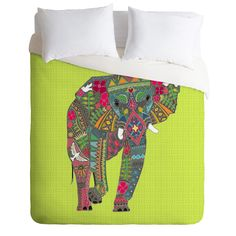 Sharon Turner Painted Elephant Chartreuse Duvet Cover | DENY Designs Home Accessories