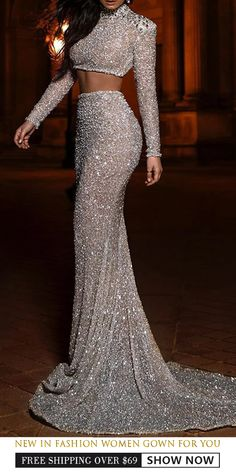 Fashion two-piece split banquet dress – Robes Mode Dresses Elegant, Pretty Dresses, Beautiful Dresses, Formal Dresses, Prom Girl Dresses, Prom Outfits, Gala Dresses, Midi Dresses, Bridesmaid Dresses