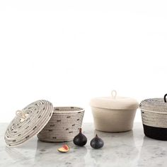Mia Melange's baskets are made from cotton rope and sewn together in a coiling technique. These unique hand crafted vessels provide a modern twist on the ancient African tradition of basket weaving. // via: DesignBreak Rope Basket, Basket Weaving, Decor Interior Design, Interior Decorating, African Traditions, Nursery Storage, Bathroom Storage, Bathroom Essentials, Cotton Rope