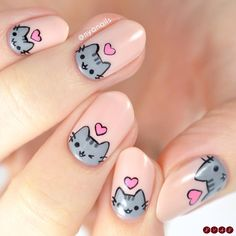 Happy Valentines Day from me and Pusheen! 💕 I loved my Rilakkuma nails so much that I wanted to do a second version featuring for… Cat Nail Art, Animal Nail Art, Pink Nail Art, Cat Nails, Cute Acrylic Nails, Farm Animal Nails, Bunny Nails, Coffin Nails, Minimalist Nails