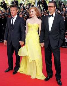 """Jessica Chastain """"The Zac Posen dress on the red carpet at Cannes! I wanted to wear a dress that looked like sunshine. Holding hands with Se..."""