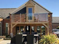 Oak frame balcony and dormer by Ginger Badger LTD House With Balcony, House Cladding, Bedroom Balcony, Oak Bedroom, Attic Renovation, Balconies, Badger, Gazebo, Living Spaces