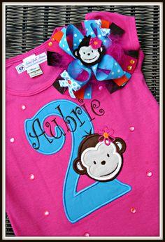 Little Monkey personalized birthday set. $32.00
