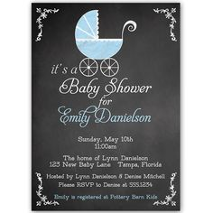 Invite guests to your boy baby shower with this classic invitation featuring a vintage blue baby carriage with a chalkboard background.