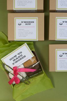 s'mores kits as party/wedding favors! All You Need Is, Craft Gifts, Diy Gifts, Party Gifts, Party Favors, Shower Favors, Smores Kits, Wedding Favors, Wedding Ideas