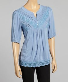 Take a look at the Young Essence Blue Floral Lace V-Neck Top on #zulily today!