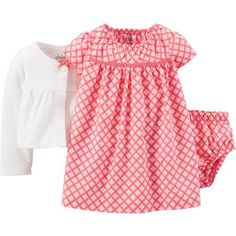 Child Of Mine by Carter's Newborn Baby Girl Dress and Sweater Outfit 3-Piece Set
