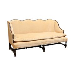 Antique Country French Louis XIV Style Carved Oak Settee