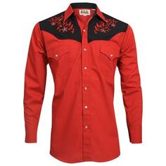 Ely Cattleman Men's Long Sleeve Floral Embroidery Western Shirt