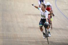 Samuel Welsford celebrates winning gold medal during UCI Track. Track Cycling, World Championship, Poland, February, Running, Celebrities, Sports, Hs Sports, Celebs