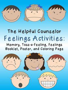 Feelings Activity Pack: Memory, Toss-a-Feeling, Feelings Booklet, Mini-Poster, and Feelings Coloring Page #Feelings $