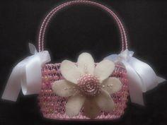 Flower Girl Basket Ivory Pink Wedding Daisy Flower custom colors #wedding by ArtisanFeltStudio on Etsy, $28.00