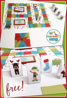 Use this FREE open-ended game board set to address just about any speech and language goal. Christmas Theme!