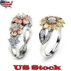 Luxury Women Rings Champagne Topaz 925 Silver Jewelry Wedding Ring Size 6-10