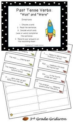 3rd Grade Gridiron: Past Tense Verb Anchor Chart and Center FREEBIE!