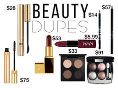 """Drugstore Beauty Dupes"" by misskali ❤ liked on Polyvore featuring beauty, Chanel, Yves Saint Laurent, MAC Cosmetics, NYX, D&G, Tom Ford, Sisley Paris, Lord & Berry and beautydupes"