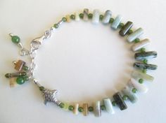 Graduated Yellow Opal/Green Bamboo Fish Charm 925 Silver Artisan Bracelet Designed by Blue Tortue